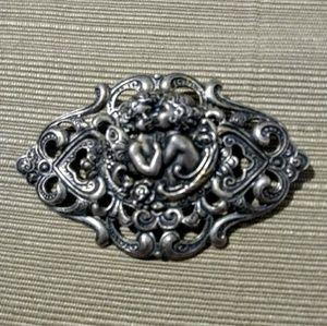 Jewelry - Large Vintage Silver Art Nouveau Brooch Cherub Pin
